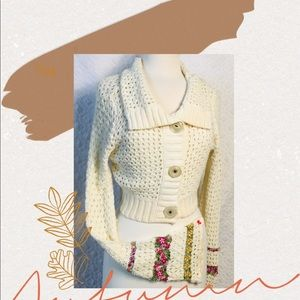 free people knit sweater chop embroidering flowers